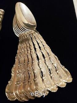Gorham Strasbourg Sterling Silver Flatware Service for 10 + ice tea set 60 piece