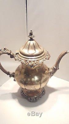 Grande Baroque by Wallace Sterling Silver Tea Set 4pc #4850-9