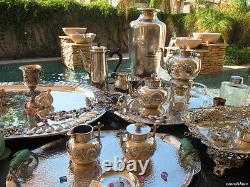 HUGE 7pc EARLY AMERICAN TEA COFFEE SET KETTLE REPOUSSE 950 STERLING SILVER 255oz