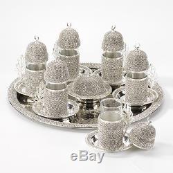 Handmade Copper Turkish Coffee Tea Zamzam Serving Set Swarovski Silver Color