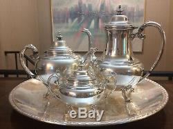 Holmes & Edwards, silverplated tea set Of 4 YOUTH Series 1940s With Rogers Tray
