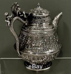 INDIAN STERLING TEA SET c1890 PRINCE ON COBRA & PROCESSION IN CASE