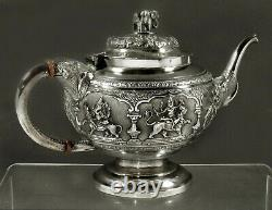 Indian Silver Tea Set c1885 MADRAS HAND CRAFTED