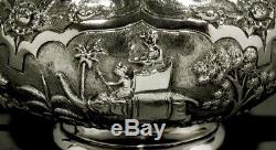 Indian Silver Tea Set c1890 HAND DECORATED HUNT & FARM SCENES