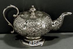Indian Silver Tea Set c1890 HAND DECORATED KUTCH REGION