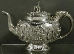 Indian Sterling Tea Set c1890 Signed Procession at Puri