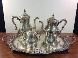 International Sterling PRELUDE 4pc Coffee &Tea Pot Sugar Creamer Set 145.60 OZT