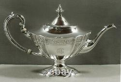 International Sterling Tea Set c1940 HAND DECORATED