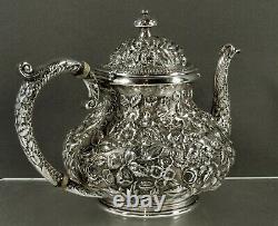 Jacobi & Jenkins Sterling Tea Set c1895 HAND DECORATED