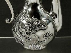 Japanese Sterling Dragon Tea Set c1890 BISANSHA