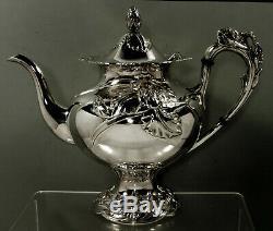 Japanese Sterling Iris Tea Set c1950 Miyata 70 Oz