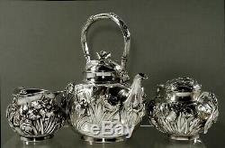 Japanese Sterling Tea Set c1890 Meiji Signed Hand Crafted