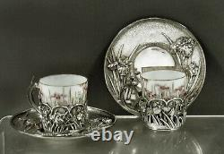 Japanese Sterling Tea Set c1895 Samurai Shokai