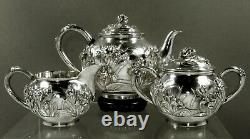 Japanese Sterling Tea Set c1895 Sanju Saku 51 Ounces
