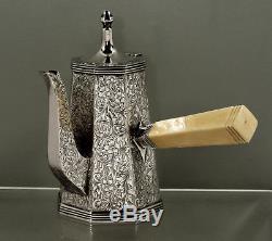 John Hasselbring Sterling Tea Set c1895 HAND DECORATED RARE MARK