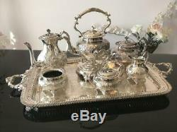 John Turton, Made in Sheffield England Silver-plated Tea Set and Footed Tray