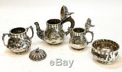 Jones, Ball, and Poor Boston Coin Silver 4 Piece Tea Service Set, circa 1850