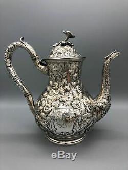 Kirk Sterling Silver Repousse Tea Set Coffee set