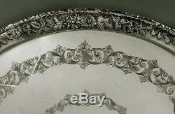 Kirk Sterling Tea Set Tray c1930 Hand Decorated No Mono