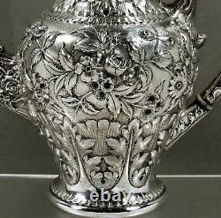 Kirk Sterling Tea Set c1905 HAND DECORATED