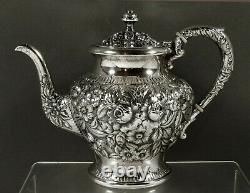 Kirk Sterling Tea Set c1930 HAND DECORATED