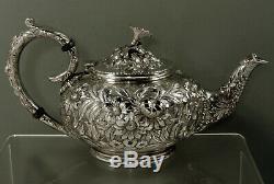 Kirk Sterling Tea Set c1930 Hand Decorated No Mono