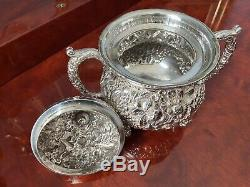 Kirk Stieff Baltimore Sterling Silver RARE EARLY 3 piece Tea Set Repousse c1900