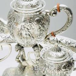 LOVELY LARGE GERMAN SOLID SILVER DECORATIVE TEASET & TRAY, C1900 1779g / 62.75oz