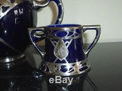 Lenox Antique (1896-1906) Art Nouveau Cobalt Blue Silver Overlay Tea Set
