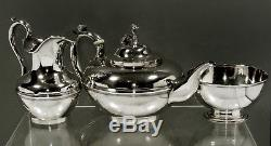 Lincoln & Reed Silver Tea Set c1835 BOSTON RECLINING WHIPPET