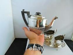 Lovely Edwardian English Sterling Silver Tea For 2 / Bachelors Teaset