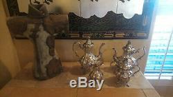 Lovely Reed & Barton 1795 Winthrop Shield Silverplate 4 Pc Coffee & Tea Set