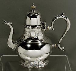 Lunt Sterling Tea Set c1930 TREASURE HAND DECORATED 52 OZ