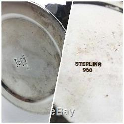 MIYATA Mid Century Modern Japanese Sterling Silver 950 Tea Set 5 Piece Set
