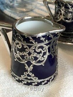 Magnificent German Sterling Silver Overlay Porcelain Tea Set Art Deco Design