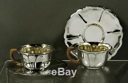 Mexican Sterling Silver Tea Set (2) c1948 Conquistador