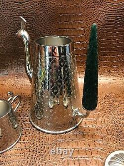 Michael Aram Mughal Garden Tea Set Peacock Silver Tray Pot Spoon Cream Sugar SFE