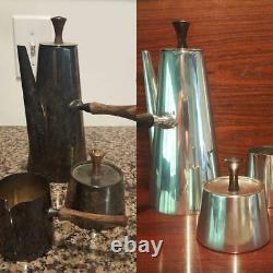 Modernist Coffee Set PM Italy Silver Sugar Creamer Tea Pot Silver Plate 1960's