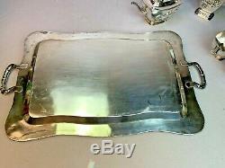 Monumental Chinese Export Silver Wang Hing Tea Set Teapot Associated Tray 4617g