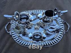 Near Museum Quality 6 Pc Complete 1913 Gorham Plymouth Sterling Coffee / Tea Set