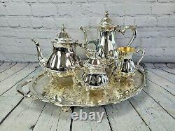 Oneida Chippendale Silverplate 5 Piece Tea Coffee Service Set