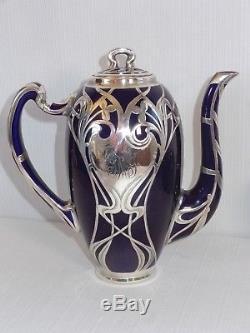 Outstanding Early Lenox Cobalt Silver Overlay 3 Piece Art Nouveau Tea Set
