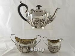 PRETTY ANTIQUE VICTORIAN SOLID STERLING SILVER TEA SET 1896 466 g