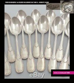 PUIFORCAT ANTIQUE 1880s FRENCH STERLING SILVER TEA/COFFEE SPOONS SET 12pc 310g
