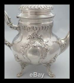 PUIFORCAT ANTIQUE 1880s FRENCH STERLING SILVER TEA POT SUGAR BOWL CREAMER SET