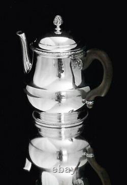 PUIFORCAT / HERMES ANTIQUE 5pc. 950 STERLING SILVER TEA SET + TRAY, 1850-1899