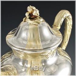 PUIFORCAT Rare French Art Nouveau IRIS Sterling Silver Vermeil Tea Coffee Set
