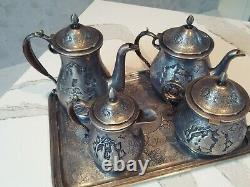 Pershian Art Exhibition Full Set Of Solid Silver Coffee & Tea By Master Lahiji