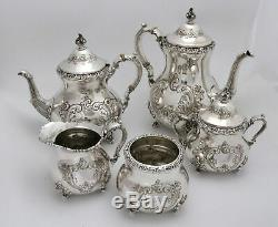 Poole Old English Hand Chased Sterling Silver Tea Coffee Set