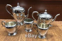 Preisner Sterling Silver 5 Piece Tea Set 1609 Grams Not Weighted No Monogram